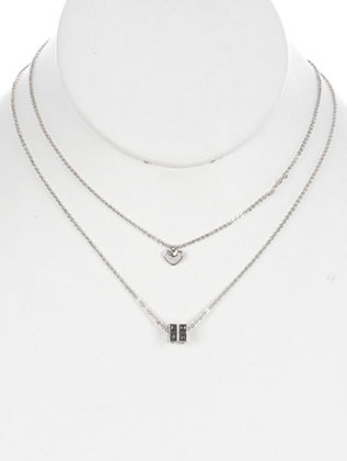 NECKLACE / 2 PC / RUBIKS CUBE CHARM CHAIN / HEART CHARM / MESSAGE / LOVE / CRYSTAL STONE / 16 INCH LONG / 1 1/2 INCH DROP / NICKEL AND LEAD COMPLIANT