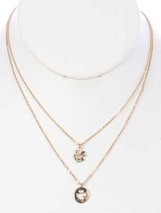 NECKLACE / 2 PC FOUR LEAF CLOVER / CHARM CHAIN / CUTOUT METAL / 16 INCH LONG / 1 1/2 INCH DROP / NICKEL AND LEAD COMPLIANT