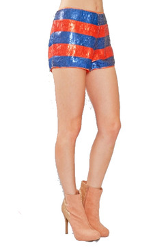 Striped Orange and Blue Sequined Shorts