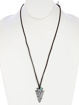 NECKLACE / ARROW HEAD / HAMMERED METAL / STRONG / ADJUSTABLE / FAUX SUEDE STRAND / LUCITE BEAD / 30 INCH LONG / 2 INCH DROP / NICKEL AND LEAD COMPLIANT