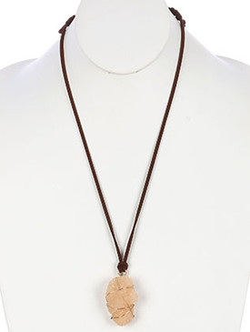 NECKLACE / NATURAL STONE PENDANT / ADJUSTABLE / WIRED / FAUX SUEDE STRAND / 30 INCH LONG / 2 1/4 INCH DROP / NICKEL AND LEAD COMPLIANT