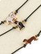 Necklace / 3 Pc / Animal Choker / Epoxy Coated Metal / English Bulldog / Dachshund / Cat / Metallic Bead / Faux Rubber Cord / 12 Inch Long / 1/2 Inch Drop / Nickel And Lead Compliant