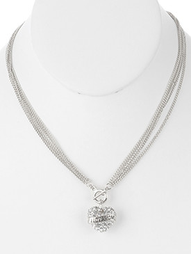 NECKLACE / PAVE CRYSTAL STONE / MESSAGE HEART CHARM / I LOVE MOM / HOLLOW CUTOUT METAL / LINK / MULTI CHAIN / TOGGLE CLOSURE / 18 INCH LONG / 1 1/4 INCH DROP / NICKEL AND LEAD COMPLIANT
