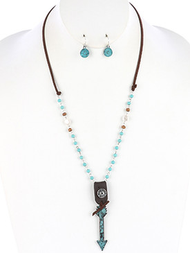 NECKLACE / AGED FINISH METAL / ARROW PENDANT / HAMMERED / FAUX LEATHER / BULLET SHELL / NATURAL STONE / WOODEN BEAD / PEARL / FAUX SUEDE STRAND / 24 INCH LONG / 3 1/2 INCH DROP / NICKEL AND LEAD COMPLIANT