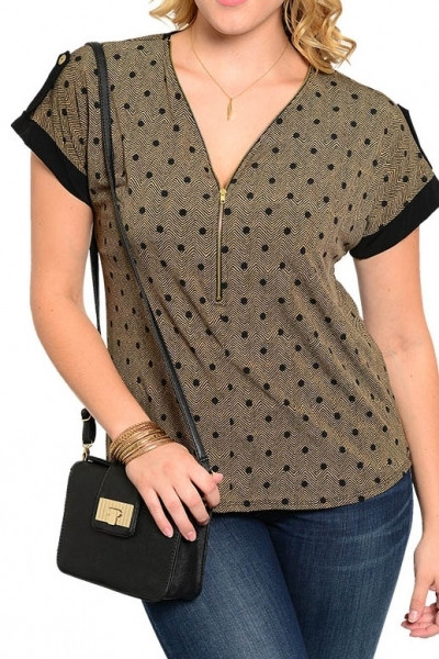 PS Plus V Neck Top with Zipper Front - Beige/Black