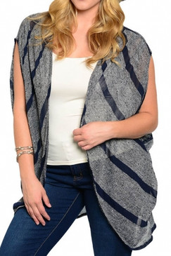 PS Plus Sleeveless Striped Cardigan