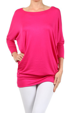 Solid Knit Tunic with Dolman Sleeves
