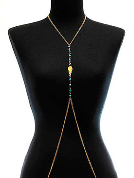 NECKLACE / BODY CHAIN / FEATHER / LINK / METAL / NATURAL STONE / 20 INCH DROP / 18 INCH LONG / NICKEL AND LEAD COMPLIANT