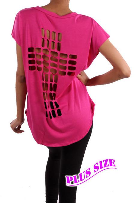 PS Plus Cross Cutout Design Top - Bright Pink
