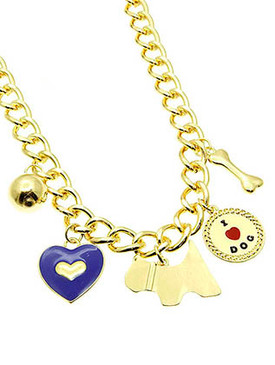 NECKLACE / I LOVE DOG / CHARM / HEART DOG BONE / METAL / METAL CHAIN / EPOXY / 1 1/4 INCH DROP / 18 INCH LONG / NICKEL AND LEAD COMPLIANT