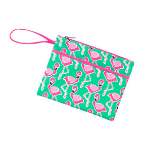 Flamingle Zip Pouch Wristlet