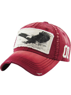 HAT AND CAP / BALD EAGLE / DISTRESSED AND FADED / PATCH / 01 EMBROIDERY / STITCHING / BUCKLE BACK / ADJUSTABLE / ONE SIZE / NICKEL AND LEAD COMPLIANT