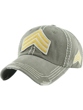 HAT AND CAP / LAW ENFORCEMENT RANK / DISTRESSED AND FADED / PATCH / USA EMBROIDERY / STITCHING / BUCKLE BACK / ADJUSTABLE / ONE SIZE / NICKEL AND LEAD COMPLIANT