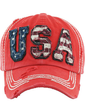 HAT AND CAP / USA / DISTRESSED AND FADED / PATCH / STARS AND STRIPES / RED WHITE AND BLUE / AMERICAN FLAG / STITCHING / BUCKLE BACK / ADJUSTABLE / ONE SIZE / NICKEL AND LEAD COMPLIANT