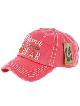 HAT AND CAP / MAMA BEAR / DISTRESSED AND FADED / EMBROIDERY / STITCHING / VELCRO BACK / ADJUSTABLE / ONE SIZE / NICKEL AND LEAD COMPLIANT