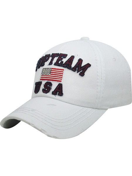 HAT AND CAP / TOP TEAM USA / DISTRESSED AND FADED / AMERICAN FLAG / RED WHITE AND BLUE / STARS AND STRIPES / STITCHED / BUCKLE BACK / ADJUSTABLE / ONE SIZE / NICKEL AND LEAD COMPLIANT