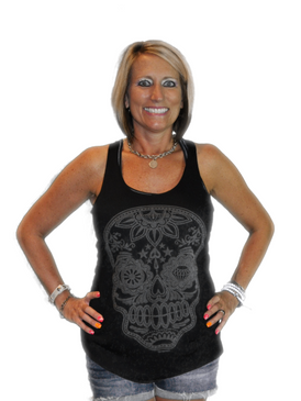 Racer Back Skull Tank - Black
