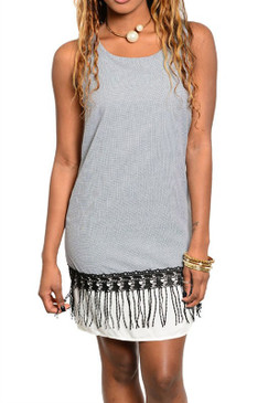 Sleeveless Tank Dress with Contrast Lace Trim and Fringe