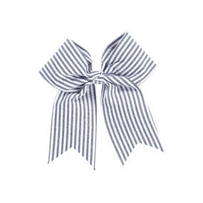 Navy Seersucker Hair Bow