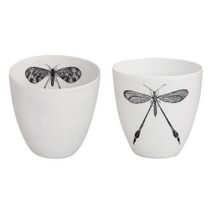 T-LIGHT HOLDERS W/ BUGS, PORCELAIN, White, Set of 2