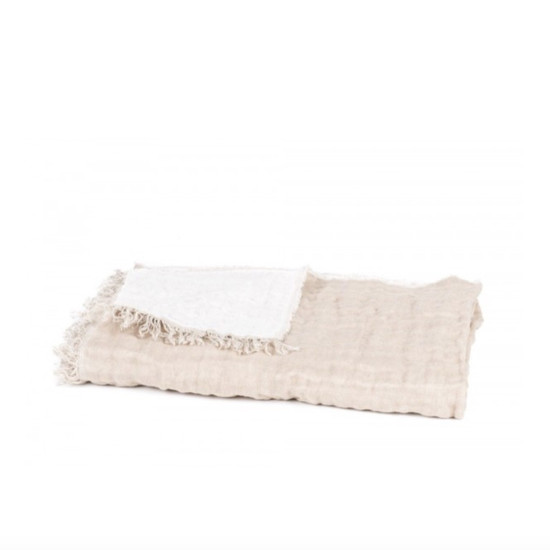 BEDSPREAD / SOFA THROW, Baya, Natural/White