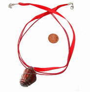 Red Silk & Cotton Cord with lobster clasp