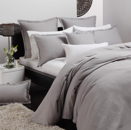 Ascot Pewter Quilt Cover Set | Queen Bed