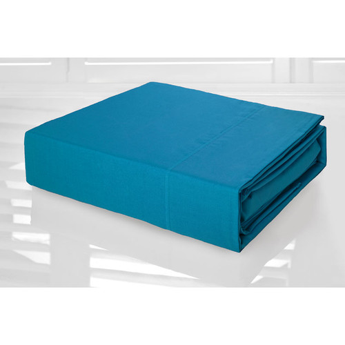 Bright Aqua Sheet Set 225TC Easy Care Percale | Single Bed