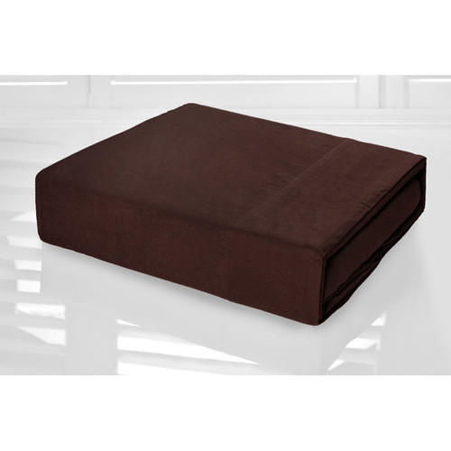 Chocolate Brown Sheet Set 225TC Easy Care Percale | King Single Bed