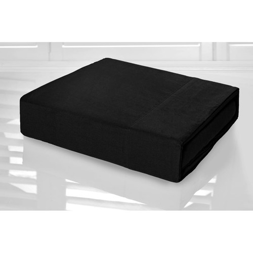 Black Sheet Set 225TC Easy Care Percale | King Single Bed