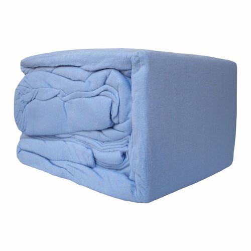 100% Egyptian Cotton Flannelette Sheet Set Blue   Queen 50cm Bed