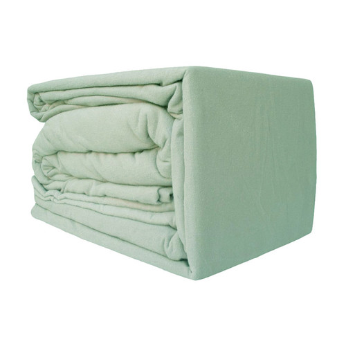 100% Egyptian Cotton Flannelette Sheet Set Green | Single Bed