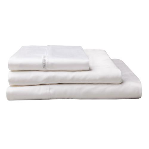 100% Egyptian Cotton Sateen Sheet Set 400TC White | King Single Bed