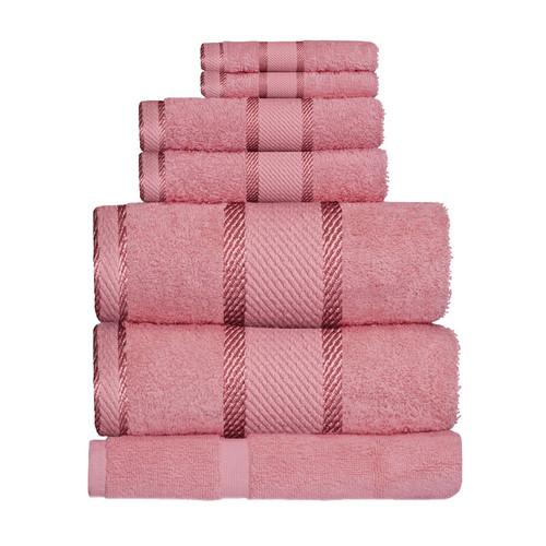 100% Cotton Rose Pink Towels | 7pc Bath Sheet Set