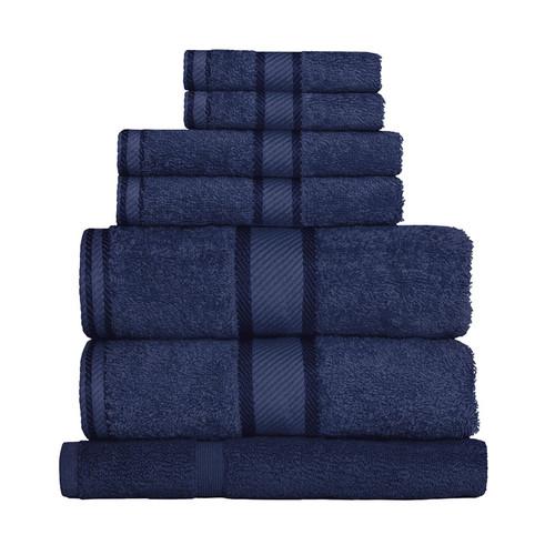 100% Cotton Navy Blue Towels | 7pc Bath Sheet Set