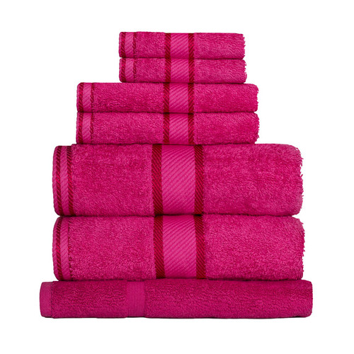 100% Cotton Fuchsia / Hot Pink Towels | 7pc Bath Sheet Set