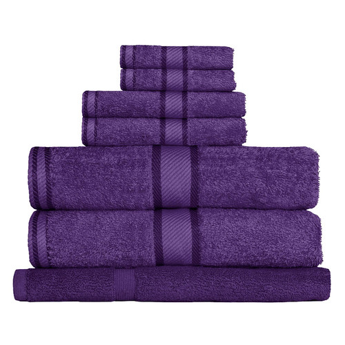 100% Cotton Purple Towels | 7pc Bath Towel Set