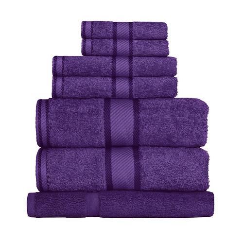 100% Cotton Purple Towels | 7pc Bath Sheet Set