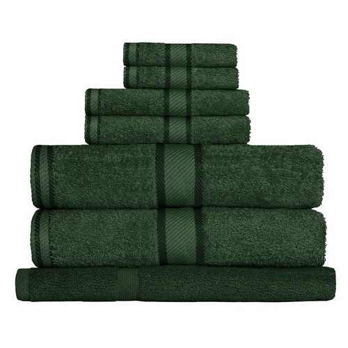 100% Cotton Forest Green Towels | 7pc Bath Towel Set