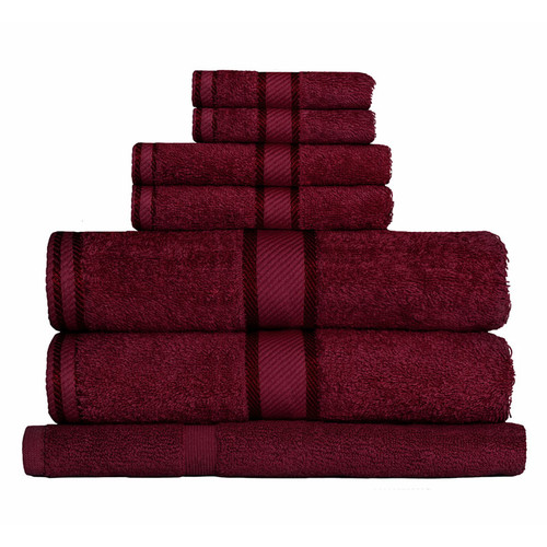 100% Cotton Burgundy Towels | 7pc Bath Towel Set