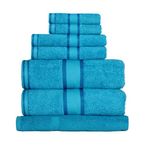100% Cotton Bright Aqua Towels | 7pc Bath Sheet Set