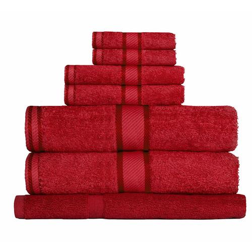 100% Cotton Red Towels | 7pc Bath Towel Set