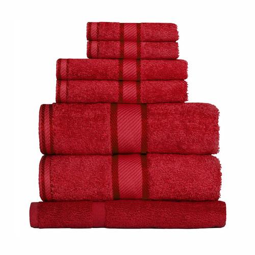 100% Cotton Red Towels | 7pc Bath Sheet Set