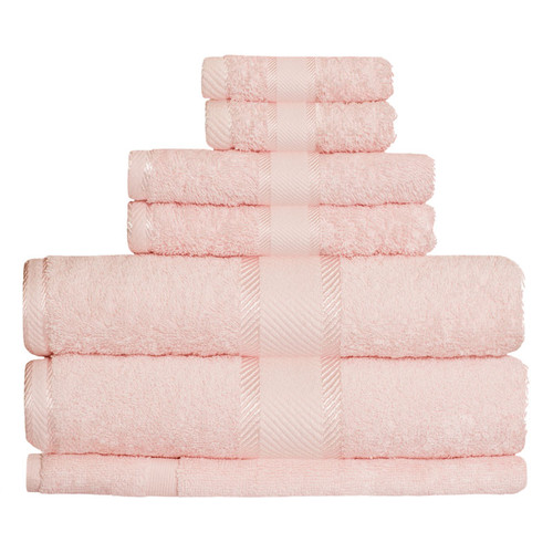 100% Cotton Baby Pink Towels | 7pc Bath Towel Set