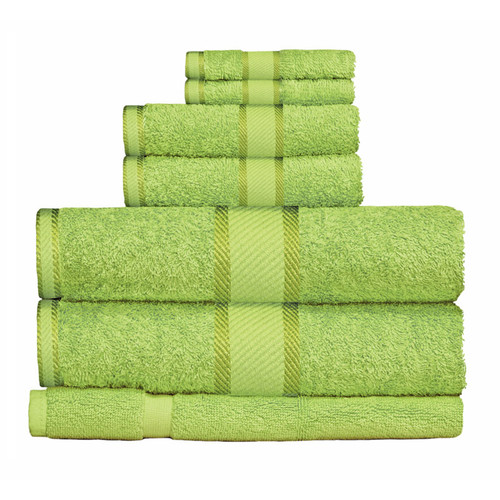 100% Cotton Bright Lime Green Towels | 7pc Bath Towel Set