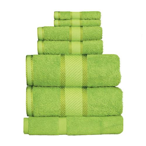 100% Cotton Bright Lime Green Towels | 7pc Bath Sheet Set