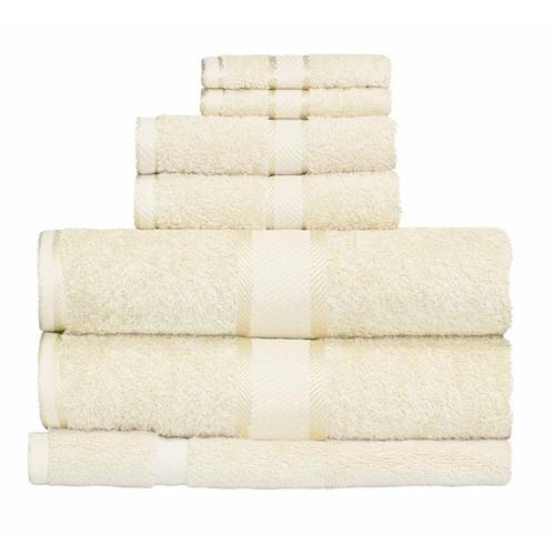 100% Cotton Cream Towels | 7pc Bath Towel Set