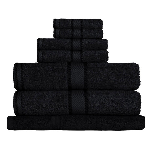 100% Cotton Black Towels | 7pc Bath Towel Set