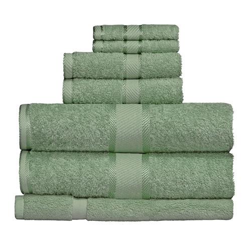 100% Cotton Frost Green Towels | 7pc Bath Towel Set
