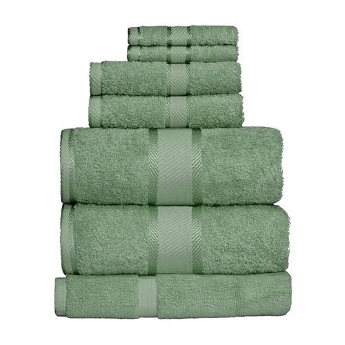 100% Cotton Frost Green Towels | 7pc Bath Sheet Set